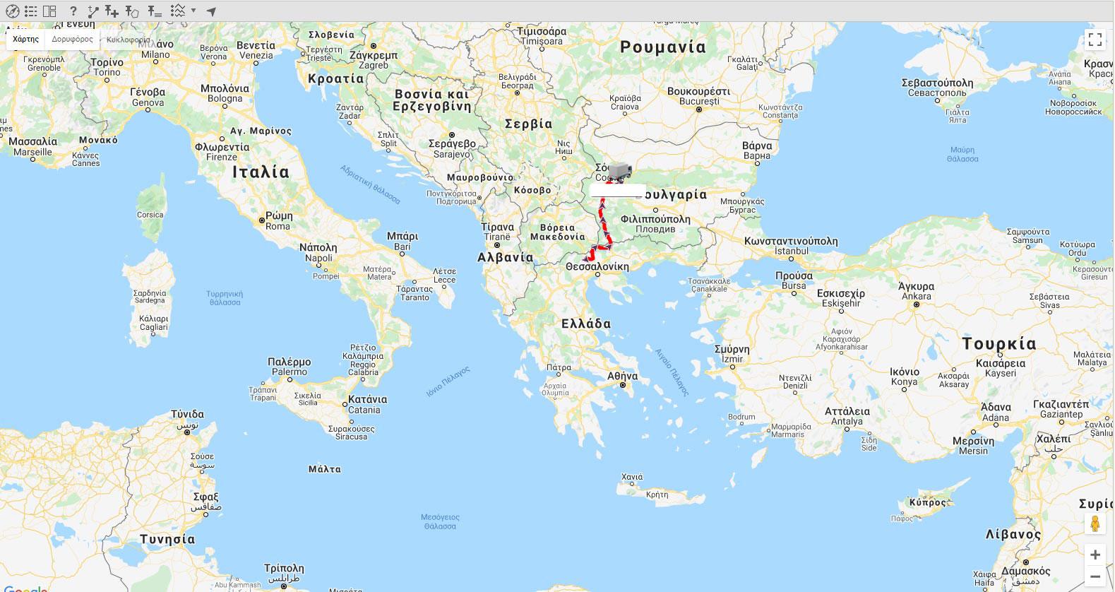 διαχείριση στόλου googlemaps